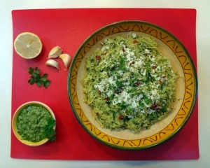 Spaghetti Squash with Parsley Lemon Pesto