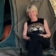 Yours truly outside our tent in the Chobe National Park, Botswana (Pic- Joan by Tent)
